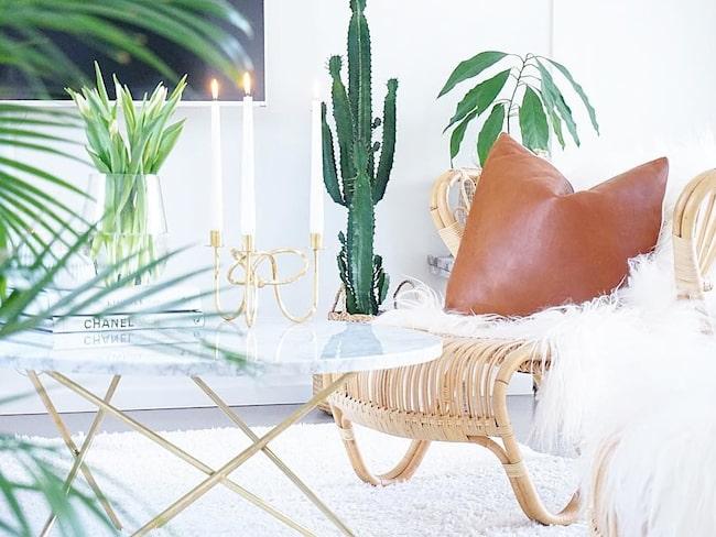 """Lägenheten i Vasastan är modern men Cecilia tonar ner det """"hårda"""" med rätt möbler och växter."""