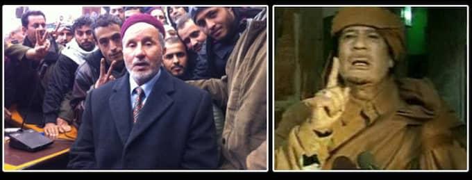 Avhoppade justitieministern Mustafa Mohamed Abud al-Jalil tror at Khadaffi kommer att göra som Hitler gjorde - ta livet av sig. Foto: Kassem Hamadé och AP/Libyens statstelevision