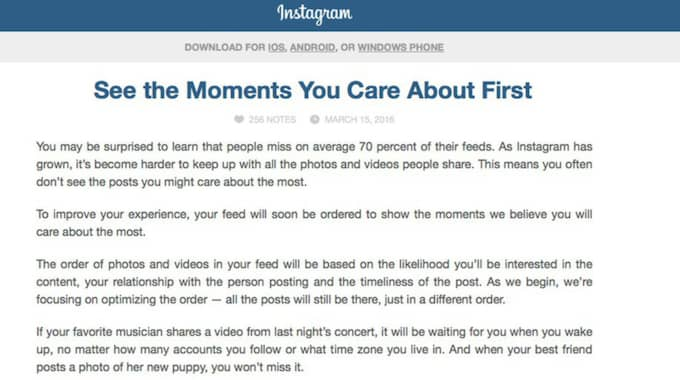 Inlägget som man postade på sin blogg.