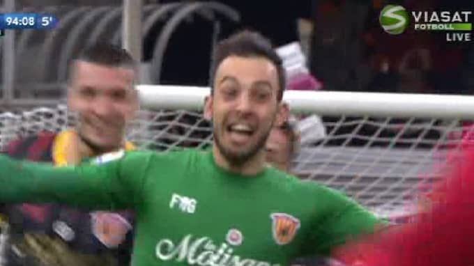 Alberto Brignoli kvitterade i 95:e minuten. Foto: Viasat Fotboll/Skärmdump