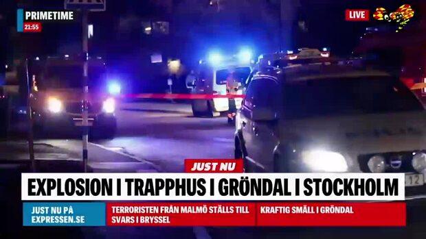Explosion i trapphus i Gröndal i Stockholm