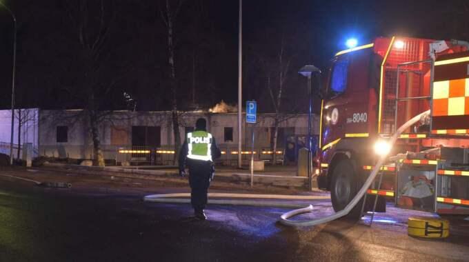 En brand har brutit ut i ett blivande asylboende i skånska Ekeby nära Bjuv. Foto: Jan Emanuelsson