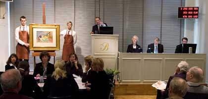 """""""Den döende dandyn"""" av Dardel klubbades ut för dryga 3,2 miljoner kronor. Foto: Bukowskis Auktioner"""