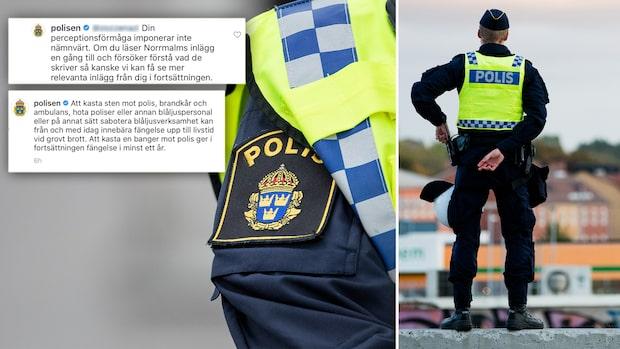 """Kritikstorm mot polisens Instagram: """"Förtroendeskadligt"""""""
