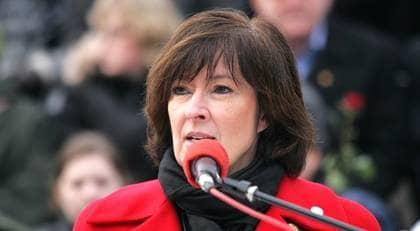 Mona Sahlin, ledare för Socialdemokraterna som nu säger ja till den nya Ipred-lagen. Foto: Scanpix Sweden