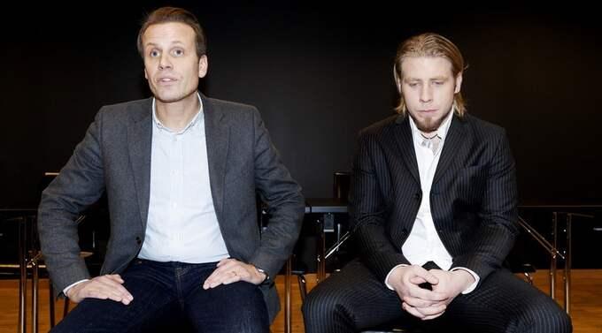 """Magnus Karlsson Lamm, exekutiv producent för """"Idol"""" till vänster, och Jay Smith till höger. På fredagen, några få timmar innan direktsändningen av """"Idol"""" började. Foto: Olle Sporrong"""