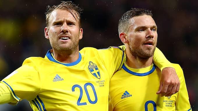 Toivonen och Berg firar. Foto: PETER HOLGERSSON / BILDBYRÅN