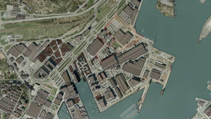 Den röda linjen markerar detaljplaneområdet för Pumpgatan på Lindholmen där Geelys etablering planeras inom den orange linjen. Foto: Göteborgs stad