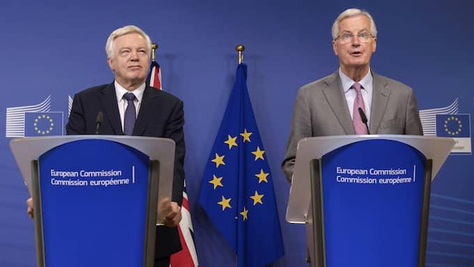 Michel Barnier och David Davis vid en presskonferens innan förhandlingarna inledes. Foto: GEERT VANDEN WIJNGAERT / AP TT NYHETSBYRÅN