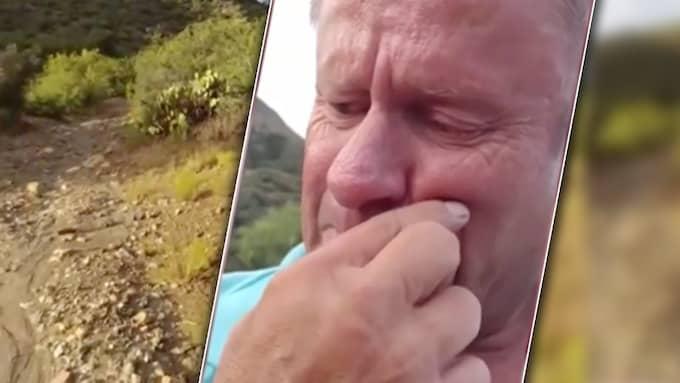 Mick Ohman spelade in en känslosam hälsning – efter 48 timmar ensam i öknen.