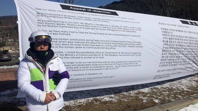 Bae Sangbeom, skiduthyrare i Bokwang, protesterar Foto: Linus Sunnervik