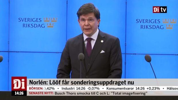 """Norlén: """"Jag har gett Annie Lööf i uppdrag att sondera"""""""