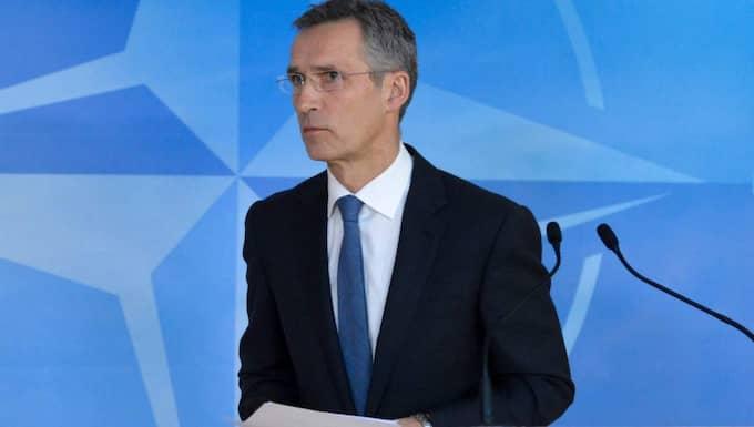 Enda realistiska alternativet. Sveriges säkerhetsläge är förändrat, med en ökad osäkerhet och spänning i vår nära omvärld. Därför måste vi snarast genomföra en Nato-utredning, skriver alliansföreträdare i sitt första officiella gemensamma uttalande om Nato-studien. På bilden Natos generalsekreterare, norrmannen Jens Stoltenberg. Foto: Stephanie Lecocq/Epa/TT