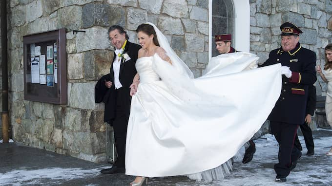 Laurent Leksell vid sin dotter Caroline Leksells bröllop 2012. Till höger i bild syns prinsessan Madeleine. Foto: SUVAD MRKONJIC