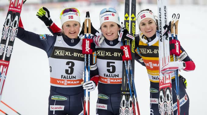 Ingvild Flugstad Östberg, Marit Björgen och Heidi Weng tävlar i Quebec. Foto: Carl Sandin / BILDBYRÅN