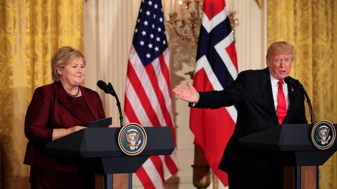 Donald Trump med Norges statsminister. Foto: MANUEL BALCE CENETA / AP TT NYHETSBYRÅN