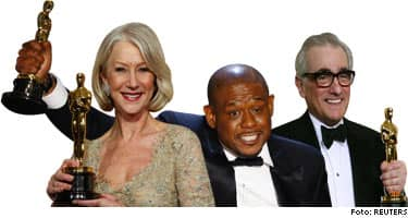 """Oscargalans stora vinnare: Martin Scorsese för sin film """"The Departed"""", som fick fyra statyetter."""