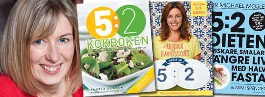 """POPULÄR KOKBOK. Angela Dowdens """"5:2 kokboken: Läckra recept på måltider med 100, 200 eller 300 kcal"""" säljer bäst av alla böcker på Adlibris."""