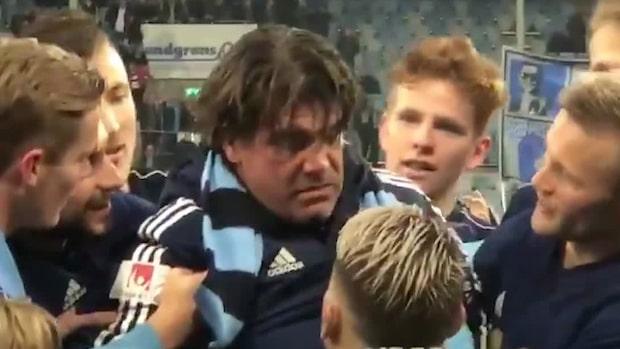Här kollapsar Bosse Andersson efter han lyft pokalen