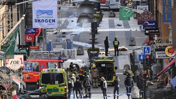 Drottninggatan in Stockholm after the attack. Foto: FREDRIK SANDBERG/TT