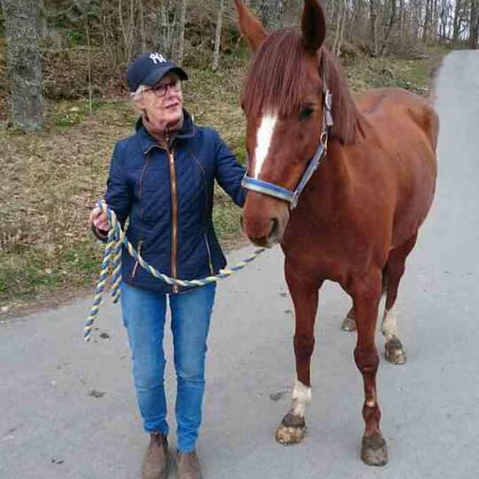 """Gunnel med hästen Carino, som blev hennes för ett halvår sedan. """"Man lär sig vilka knappar man ska trycka på"""". Foto: Privat"""