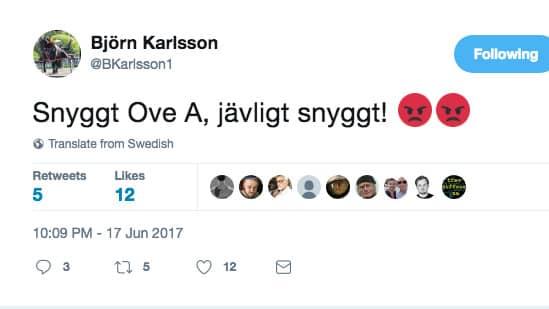 Björn Karlsson reagerade på Twitter.
