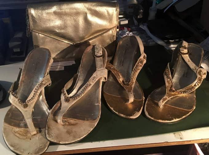 Anita Ekbergs olika skor som Lars Hector fått i gåva. Foto: Privat