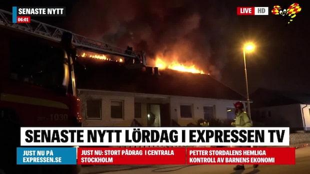 Kraftig villabrand i Växjö